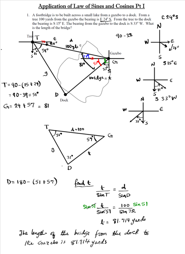 Application Of The Law Of Sines And Cosines Mathgotserved