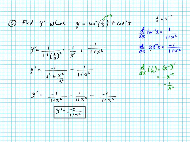 derivative of inverse trigonometric functions pdf
